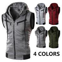 Men Hooded Hoodie Vest Tank Tops Sweatshirt Gym Muscle Sleeveless Zipper T-shirt
