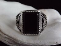 Mens Sterling Silver Jewellery Gents Signet Ring Onyx Size W1/2 Fathers Day