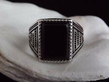 Mens Solid Sterling Silver Jewellery Gents Signet Ring Onyx Inlay Size W 1/2