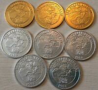 1988 Krewe Of Freret Mardi Gras Aluminum Doubloons 3 Gold & 5 Silver Coin Tokens