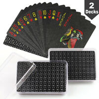 2 Decks Plastic Playing Cards Waterproof Standard Black Playing Cards with Cases