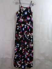 1.State Women's Black Floral Pleated Culotte Wide Leg Jump Suit Size 6 NWT