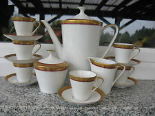 SERVICE CAFE MOKA 6 Personnes Porcelaine BAVARIA Filet Rouge Bord or