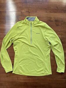 PATAGONIA Men's 1/2 Zip Pullover Baselayer Size M Yellow/ Green