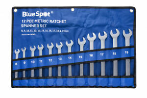 Ratchet Spanners 12pc Combination Ratchet Wrenches Spanner Tool Set 8mm - 19mm