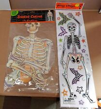 "Halloween Bling Clings Eerie Alley Skeleton 19""x5"" Jointed Cutout Skeleton 68E"