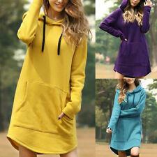 Women Sports Hooded Sweatshirt Hoodie Dress Pocket Long Sleeve Pullover Jumper