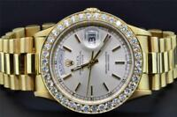 Rolex Watch President Day-Date 18K Yellow Gold Custom Diamond Watch Bezel 36mm