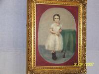 American Folk Art  Original Oil Full Portrait Carved Wood Gold Gild Frame