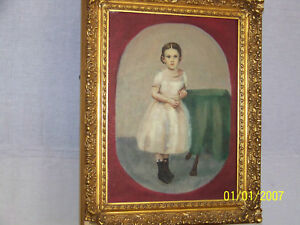 American Folk Art  Original Oil Full Portrait Carved Wood Gold Gild Frame