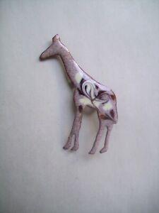 Enamel on Copper GIRAFFE ANIMAL Pin Brooch Signed INGA-BROWN/CREAM COLOR