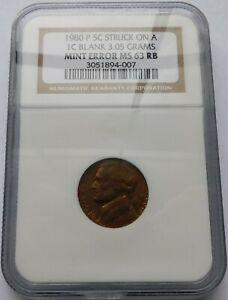 1980-P Jefferson Nickel Rare Error - NGC Struck on 1C Blank Mint Error MS 63 RB
