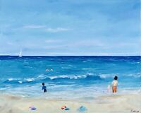 People Beach Seascape Painting Original Art Canvas 16 by 20In By Chernetsova
