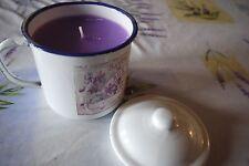 bougie dans pot en émail, parfumée à la violette - neuf