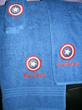 Captain America Shield Personalized 3 Piece Bath Towel Set  Super Hero ANY COLOR
