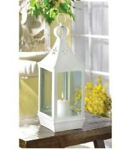 "10 Classic White Lantern Large 15"" TALL Candleholder Wedding Centerpieces"