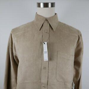 NEW Oleg Cassini Mens Soft Silk Rayon Blend LS Button Down Beige Dress Shirt L