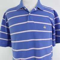 BROOKS BROTHERS 346 ORIGINAL FIT SHORT SLEEVE BLUE STRIPED POLO SHIRT MENS SZ XL