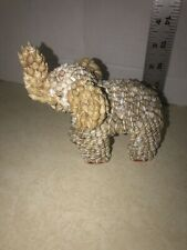 Vintage Elephant Figurine Made Out Of Sea Shells Trunk Is Up For Good Luck!