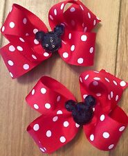 LOT OF 2 MINNIE MOUSE HAIR BOWS HAIRBOWS BOWS