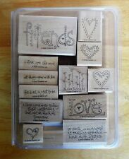 2006 Stampin Up LOVE MATTERS 12pc RUBBER INK STAMP SET Large FRIENDS + Quotes