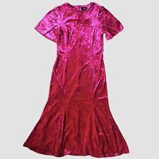 Topshop Bright Pink Velvet Flouncy Midi Dress 12 - B68