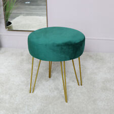Green Velvet Stool with Gold Hairpin Legs vintage, bedroom seating luxury chair