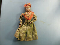 "VINTAGE ANTIQUE BLACK AMERICANA WOMAN CLOTH DOLL 10""T - OLD HANDMADE FOLK ART"