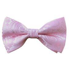 Stones Handmade Rose Pink Paisley Pre tied Bow tie Wedding Bowtie