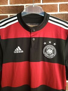 Germany National Team 2014/15 Football Jersey Adidas Black and Red Striped