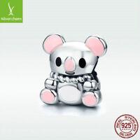 925 Sterling Silver Charm Bead Pink Enamel Koala Sweet Style Fit Women Bracelet