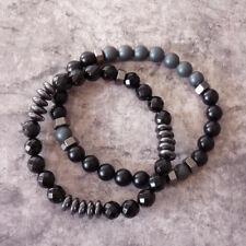 Charm Men 8mm Onyx Hematite Beads Stack Bracelet Set Jewelry Boyfriend Gift DIY