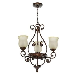 Hampton Bay Freemont Collection 3-Light Hanging Antique Bronze Chandelier