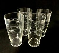 Set of 4 Vintage 12 oz Footed Tumblers Clear Glass Etched Daisy Dot Water