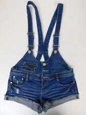 Almost Famous Juniors Denim Shortalls Overalls Zippers Distressed Size 7
