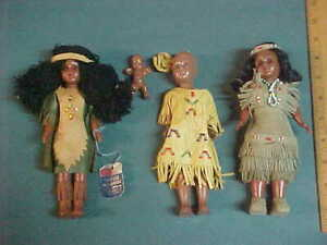 Vintage Lot of 3 Hunnisett & Edmonds (Canada) Native Indian Dolls & Papoose /Tag