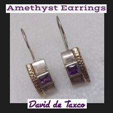 Matching Faceted Amithyst Gemstones Nice Taxco 925 Sterling Silver Earrings With