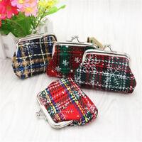 Women's Small Wallet Holder Coin Purse Clutch Handbag Bag Cloth Plaid Coin Bag