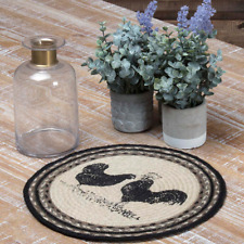 """Sawyer Mill Poultry Jute Tablemat 13"""" Diameter Set of 6 Black Stenciled Rooster"""