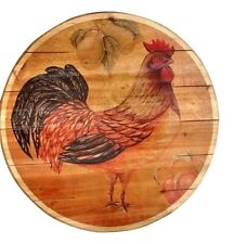 """Rustic Wood Lazy Susan Rooster Farm House Country French Lazy Susan 20"""""""