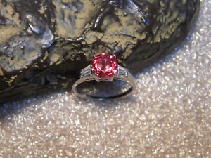2.50 Ct. VVS1 Red/Orange Padparadscha Sapphire/Accents .925 Silver Ring Size US8