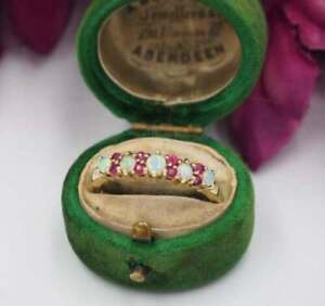 1.00 Ct Fire Opal & Red Ruby Vintage Wedding Ring Band 14k Yellow Gold Over