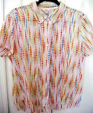 CHRISTOPHER & BANKS Large-Short Sleeve Blouse-Lightweight Dots/Stripes-Button Up
