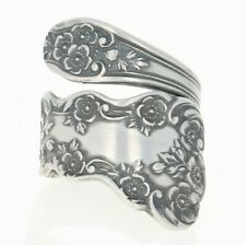 NEW Handmade Gorham Buttercup Spoon Ring - Sterling Antiqued Adjustable