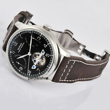 Parnis 43mm Black Dial Power Reserve Men Date Automatic Movement Watch