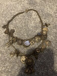All Saints Bronze Indian Coin/cross Necklace