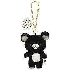 Rilakkuma Plush Keychain Key Holder Monochrome Black ❤ San-X Japan