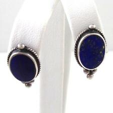 Vintage Sterling Silver Blue Lapis Twisted Cable Dot Bead Oval Earrings