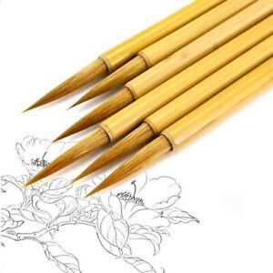 Weasel Hair Calligraphy Writing Brush Bamboo Handle Hook Line Pen Writing Supply