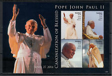 Tuvalu 2014 MNH Canonization Blessed Pope John Paul II 4v M/S I Popes Stamps